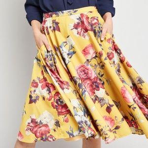 Modcloth Yellow Floral Ikebana forAll A-line Skirt